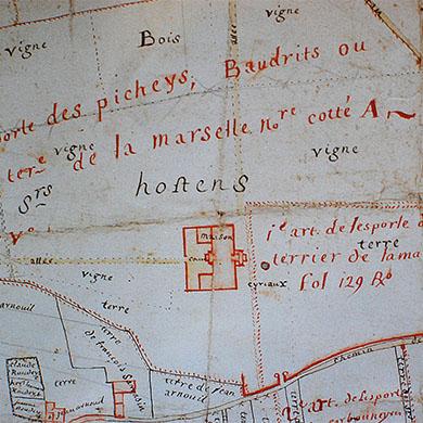 Carte d'Hostin à Saint Quentin de Baron Gironde réalisée à la demande de Montesquieu vers 1750